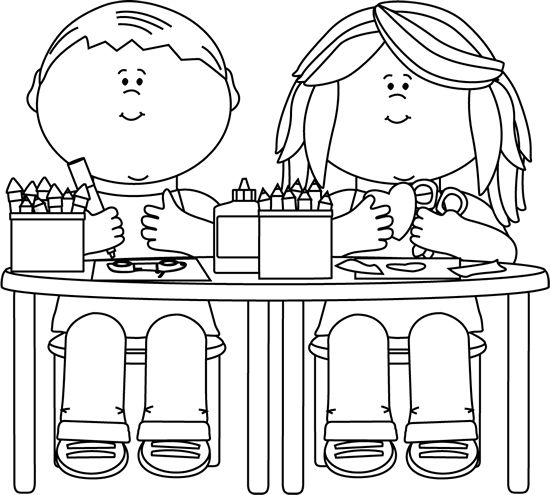 Black and White Kids in Art Class clip a-Black and White Kids in Art Class clip art image. A free Black and White Kids in Art Class Chalkboard clip art image for teachers, classroom projects, ...-12