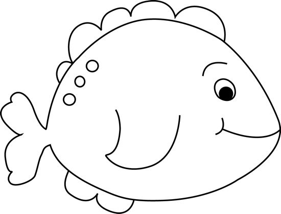 Black and White Little Fish Clip Art Image - black and white outline .