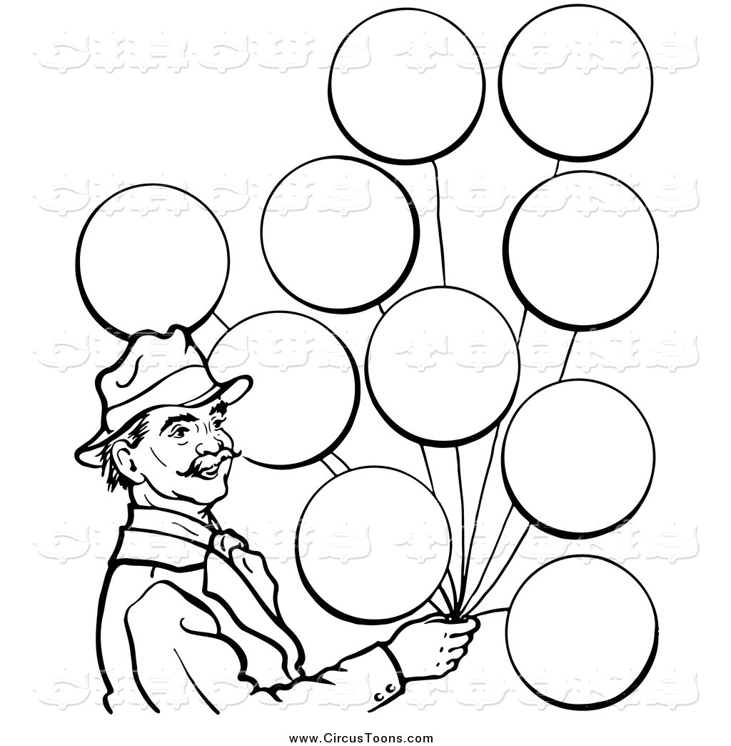 Black And White Man With Balloons In Black And White Black And White
