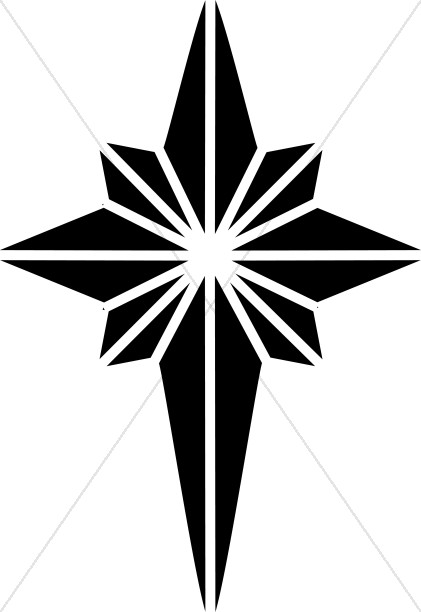 Black and White Nativity Star Clipart