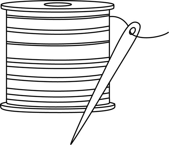 Black and White Needle and Thread Clip Art - Free sewing clip art images for teachers