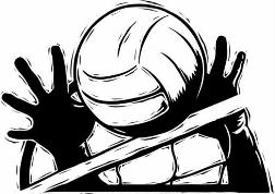 black and white picture of two hands blocking a volleyball