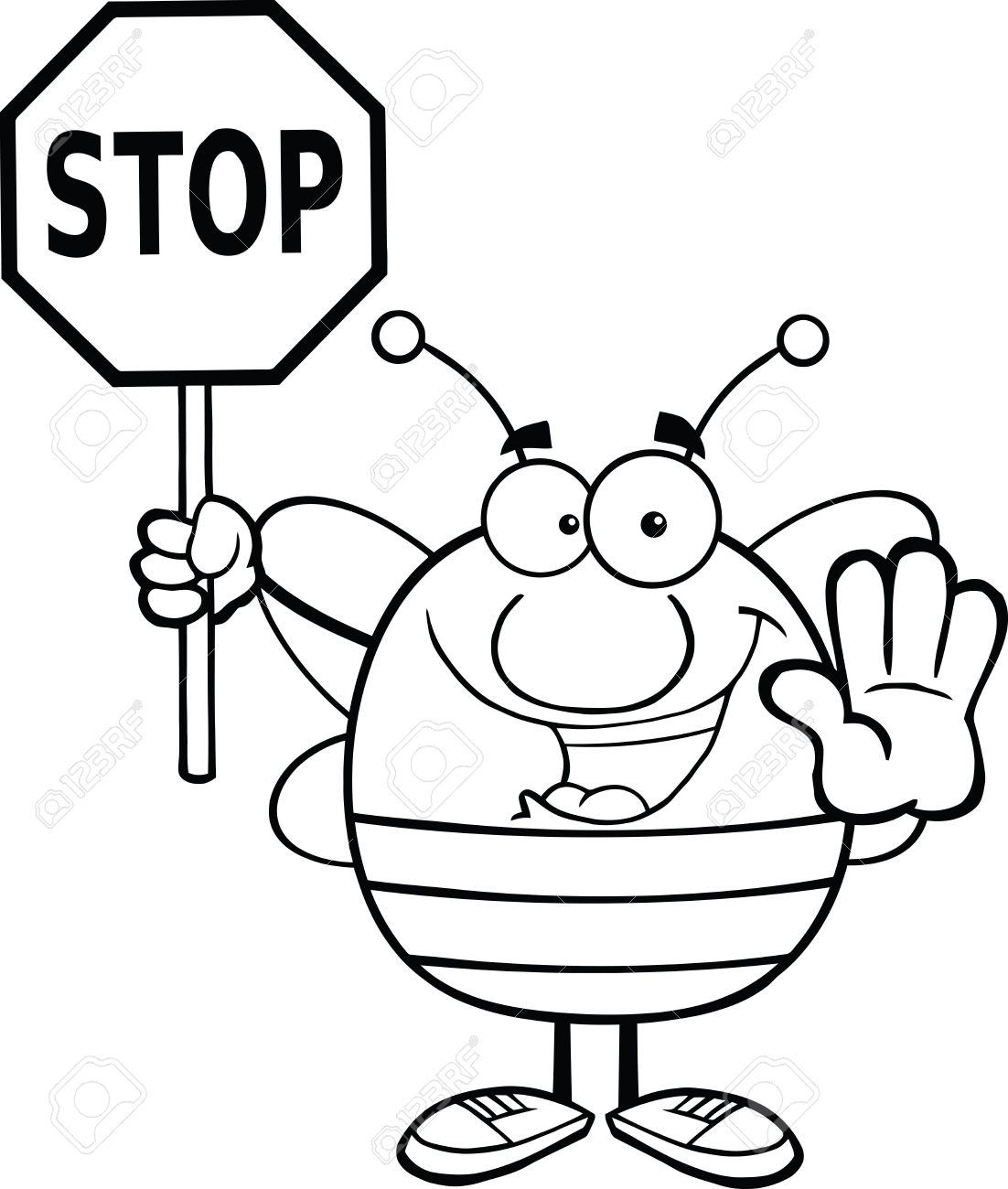 Black And White Pudgy Bee ... Black And White Pudgy Bee ... Stop Sign Clip Art ...