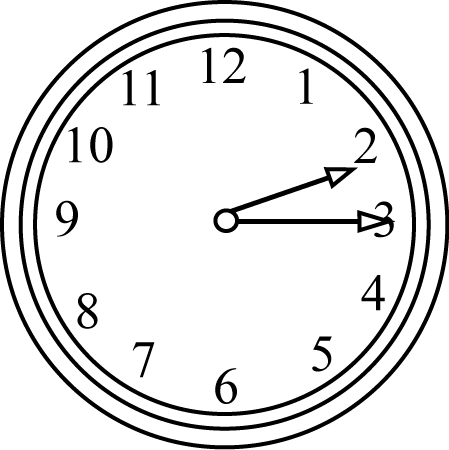 Black and White Quarter Past  - Clock Clipart