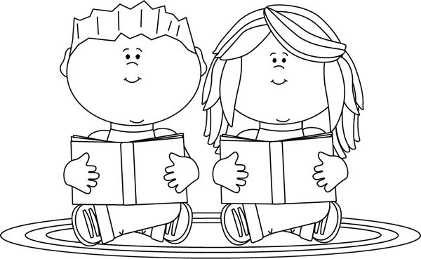 Black and White Reading . - Reading Clipart Black And White