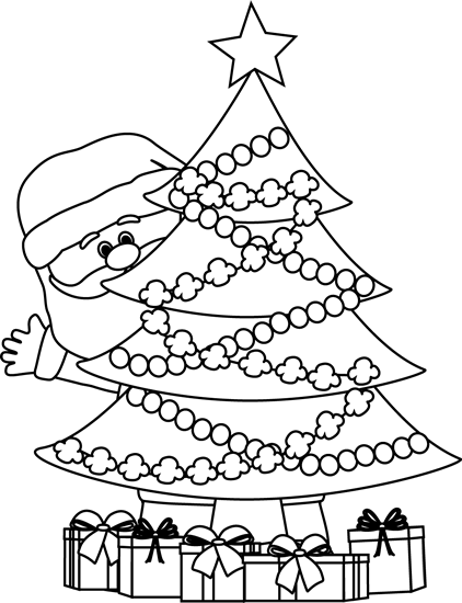 Black And White Santa Behind Christmas Tree Clip Art Black And White