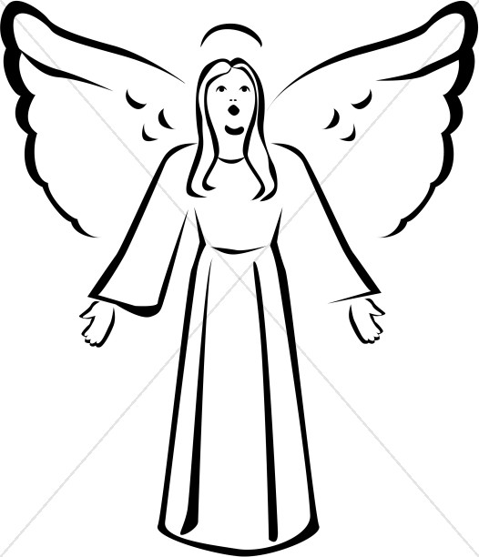 Black and White Singing Angel Clipart
