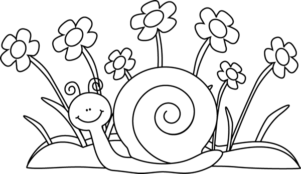 Black And White Snail And Flowers Clip A-Black And White Snail And Flowers Clip Art Black And White Snail-12