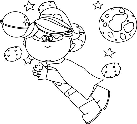 Black And White Space Clipart. Black and White Superhero Girl .