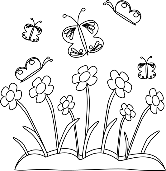 Black and White Spring Flowers and Butte-Black and White Spring Flowers and Butterflies-0