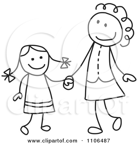 Black And White Stick Drawing Of A Happy-Black And White Stick Drawing Of A Happy Mother And Daughter Holding Hands by C Charley-Franzwa-1