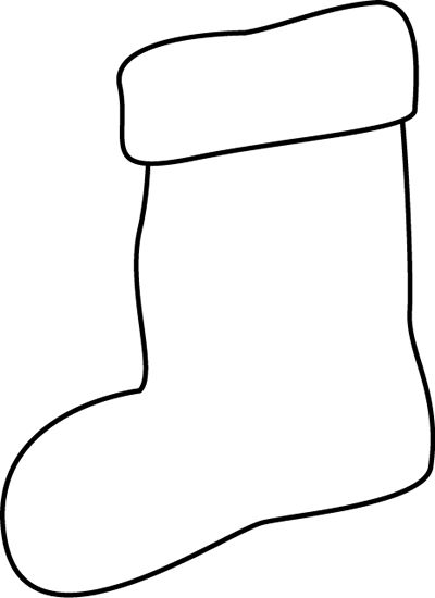 Black And White Stocking Clip Art - Blac-Black and White Stocking Clip Art - Black and White Stocking Image-0