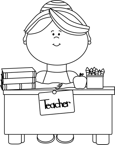 Black and White Teacher Sitting at a Desk