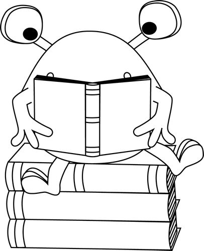 Black and White Two-Eyed Monster Reading Clip Art - Black and White Two-