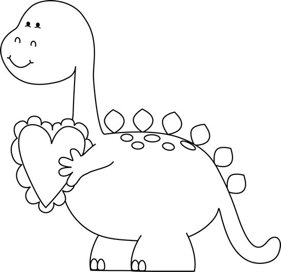 Black and White Valentineu0026#39;s Day Dinosaur Clip Art Clip Art - Black .