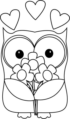 Black and White Valentineu0026#39;s Day Owl clip art image. Free and original Black and White Valentineu0026#39;s Day Owl clip art image for teachers, classroom lessons, ...
