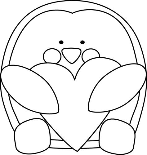 Black and White Valentineu0026#39;s Day Penguin