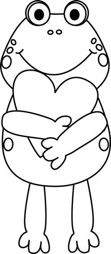 Black and White Valentine Frog clip art image. This original and unique Black and White Valentine Frog clip art images for teachers, classroom lessons, ...