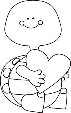 Black And White Valentineu0026#39;s Day -Black and White Valentineu0026#39;s Day Turtle clip art image. This original-8