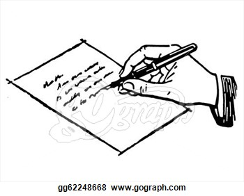 Black And White Version Of A Drawing Of -Black And White Version Of A Drawing Of A Hand Writing A Letter-10