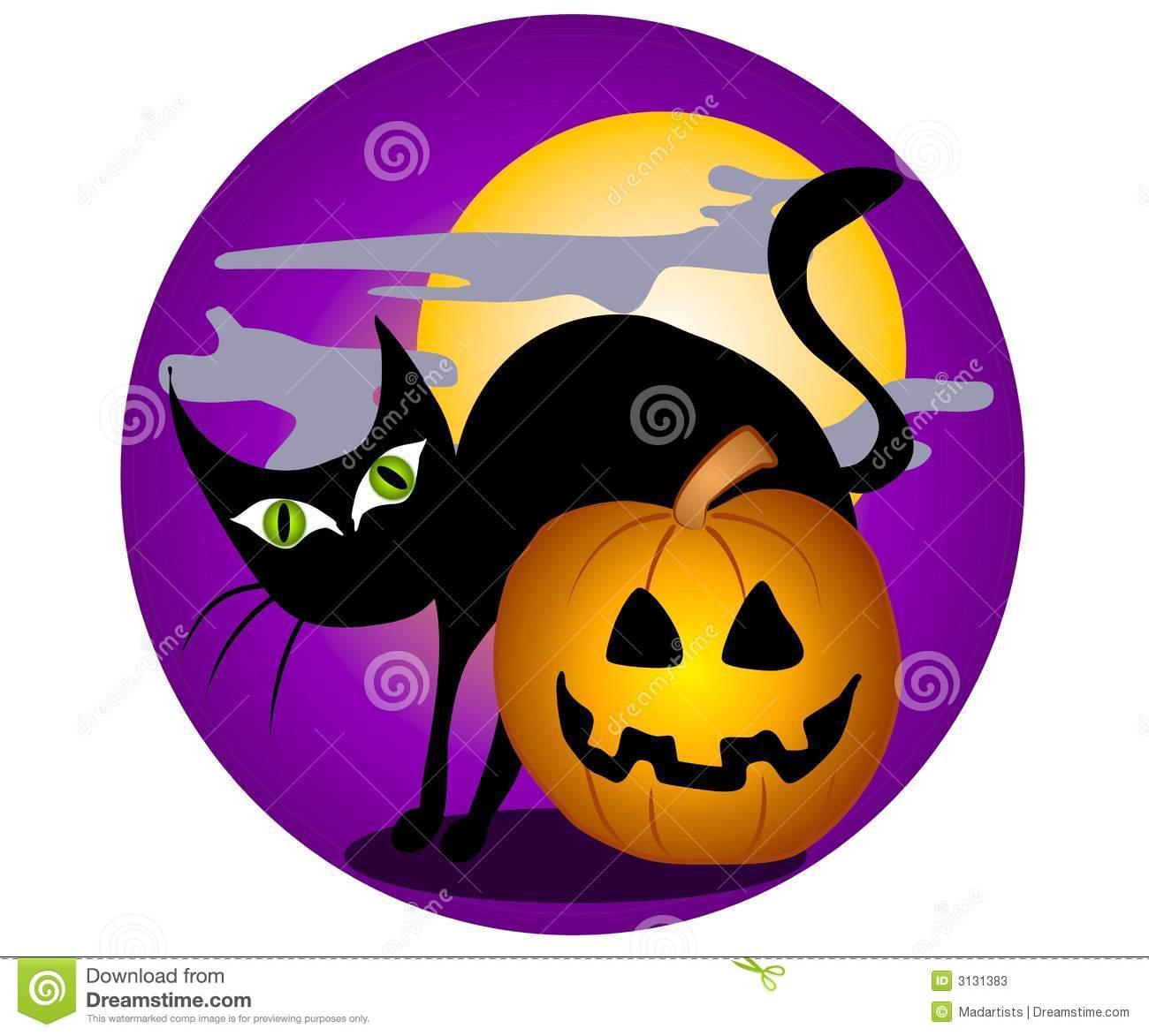 Black Cat Halloween Clip Art 2 Stock Photos