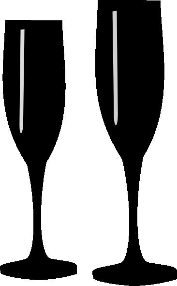 Black champagne glasses clip art at vector clip art
