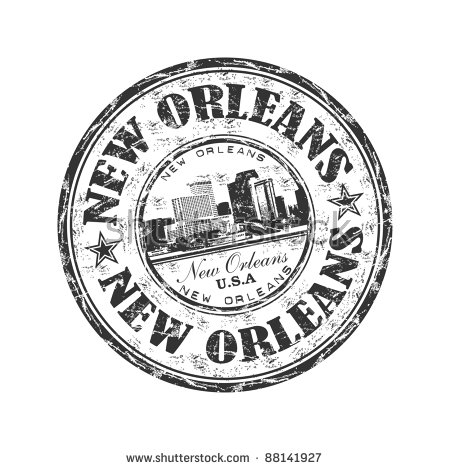 Black grunge rubber stamp with the name of the city of New Orleans written inside the
