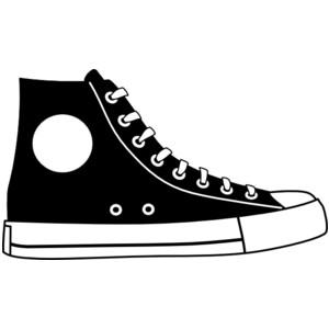 Black Hightop Shoe Clip Art-Black Hightop Shoe clip art-2