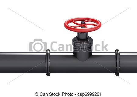 Black oil pipe with red .
