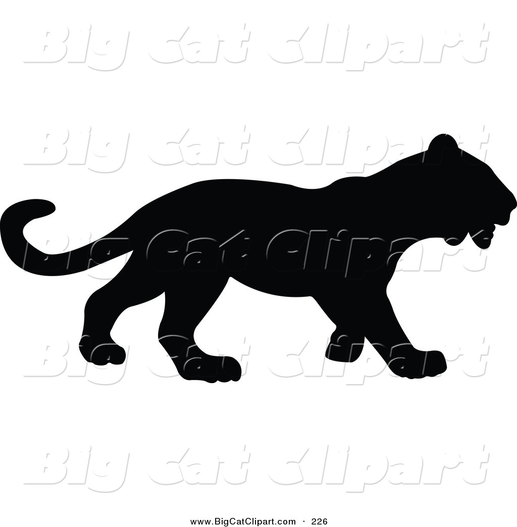 Big Cat Vector Clipart of a Profiled Black Panther Silhouetted and Facing  Right