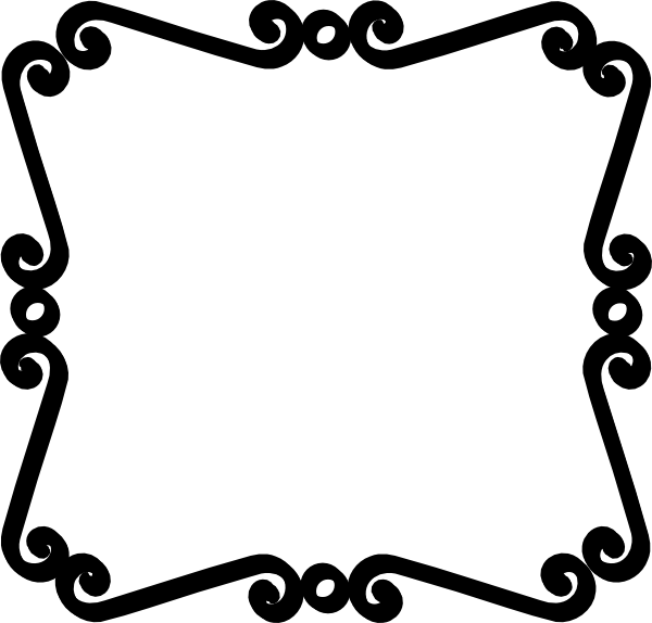 Black Scroll Border Clip Art  - Black And White Border Clip Art
