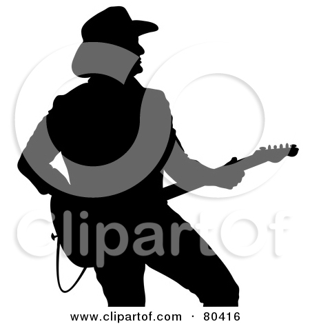 Black Silhouette Of A Country Western Mu-Black Silhouette Of A Country Western Music Guitarist by Pams Clipart-19