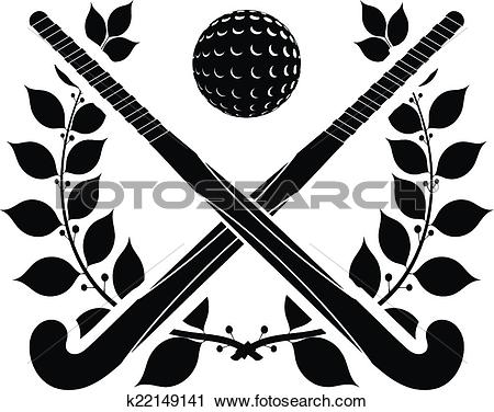 Black silhouette of two sticks for field hockey and ball with a