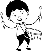 Black White Boy Playing Drum Musical Ins-Black White Boy Playing Drum Musical Instrument Clipart Size: 115 Kb-2