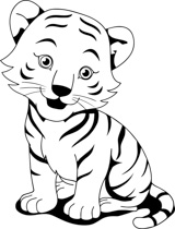 black white tiger cub clipart. Size: 133 Kb
