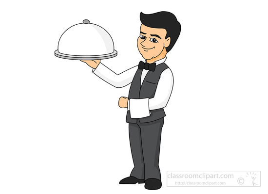 Black White Waiter Clipart