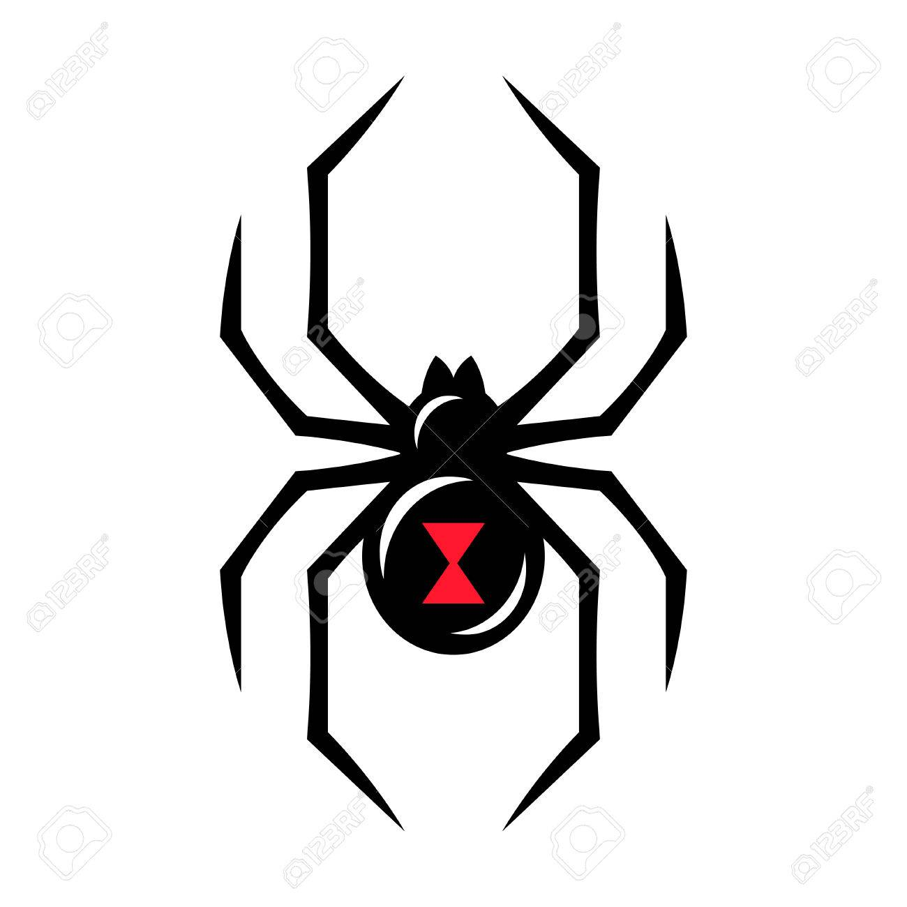 Black widow spider icon isolated on white background. Creepy spider logo  vector illustration. Stock