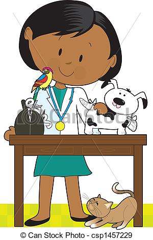 ... Black Woman Vet and Pets - Black woman veterinarian tending.