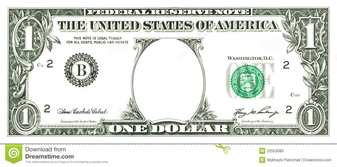 Blank dollar bill clip art
