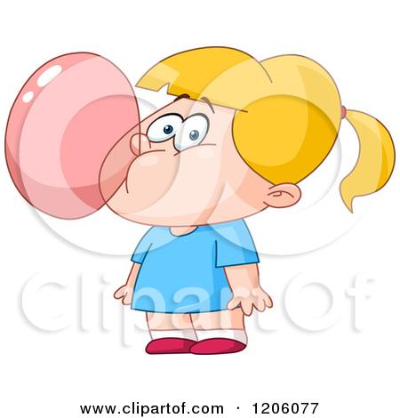Blond Girl Blowing Bubble Gum by yayayoyo