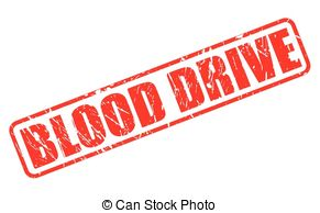 ... Blood drive red stamp text on white