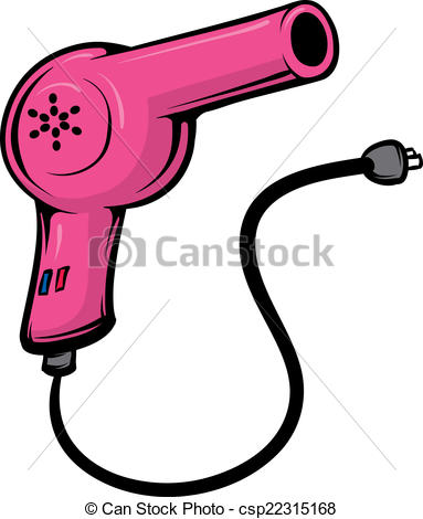 ... Blowdryer - An Illustration of a pink hairdryer and cord