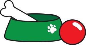 blue dog bone clipart - Dog Bowl Clipart