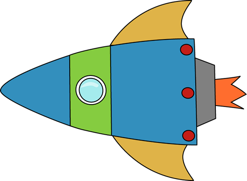 Blue and Green Space Rocket