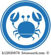 Blue Circle Crab Logo