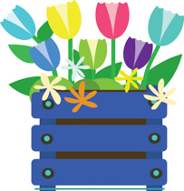 Blue Crate Full Of Tulip Flowers Clipart Size: 161 Kb