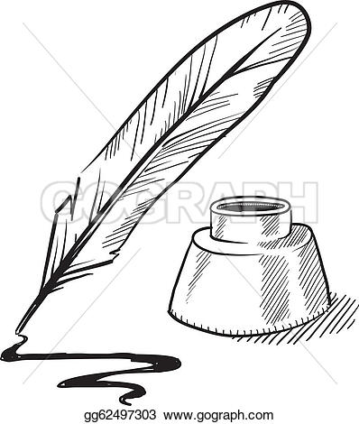 Blue feather u0026middot; Quill pen and -Blue feather u0026middot; Quill pen and inkwell sketch-2