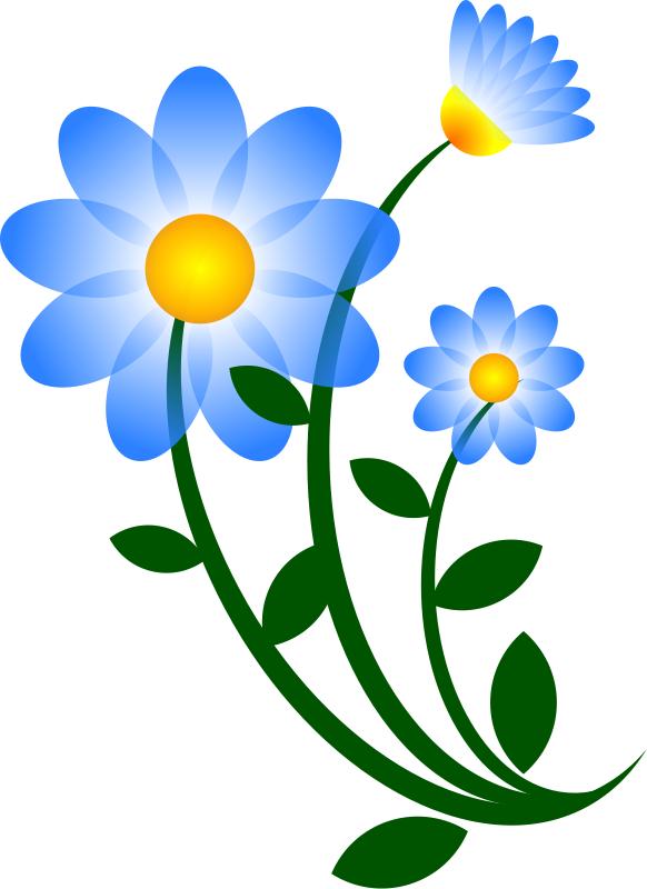 Blue Flower Border Clip Art | - Flower Clipart Images