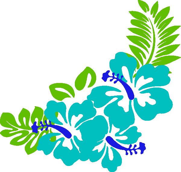 Blue Green Tropical Flowers Clip Art At Clker Com Vector Clip Art