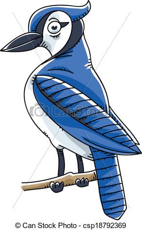 ... Blue Jay Bird - A cartoon Blue Jay bird perched on a twig. Blue Jay Bird Clip Art ...